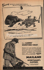 Masland Sportsman's Clothes Ladies' Hunting Coat 1952 vintage print ad