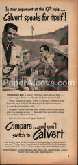 Calvert Whiskey golf 1952 vintage print ad