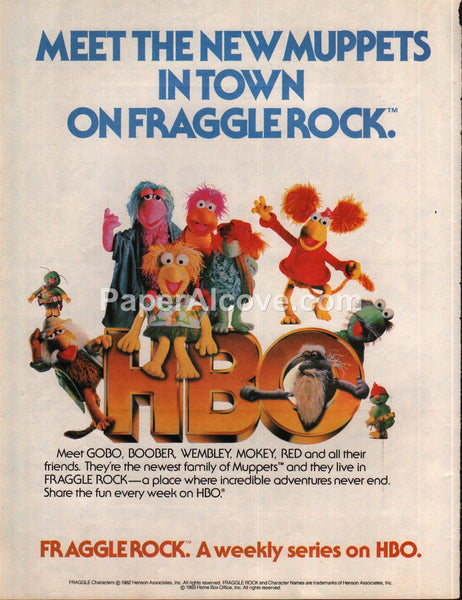 Fraggle Rock Muppets HBO TV Show 1983 vintage print ad