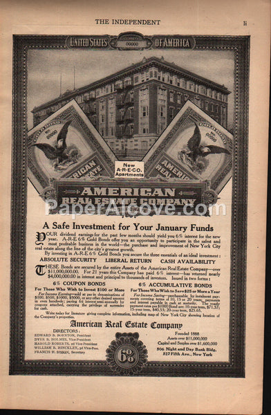 American Real Estate Company Apartment Bonds 1908 vintage print ad