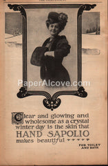 Hand Sapolio toilet bath soap woman with muff 1908 vintage print ad