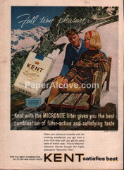 Kent Cigarettes mountains skiing 1964 vintage print ad