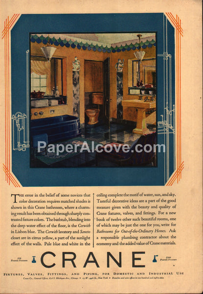 Crane Plumbing yellow blue Bathroom Fixtures Corwith Saneto 1929 vintage print ad