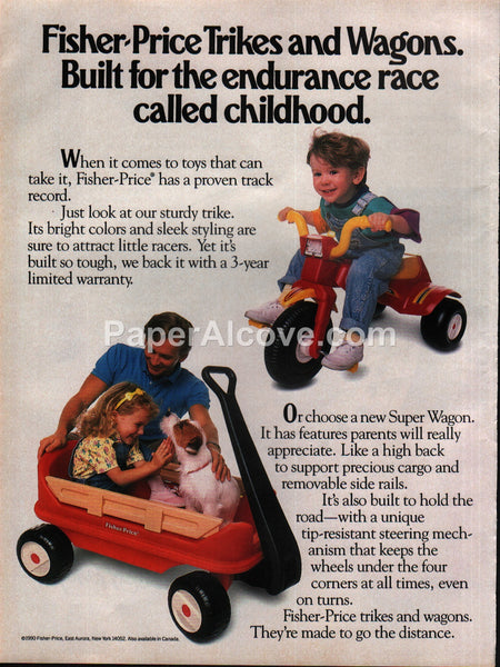 Fisher Price Trike Super Wagon toys 1990 vintage print ad