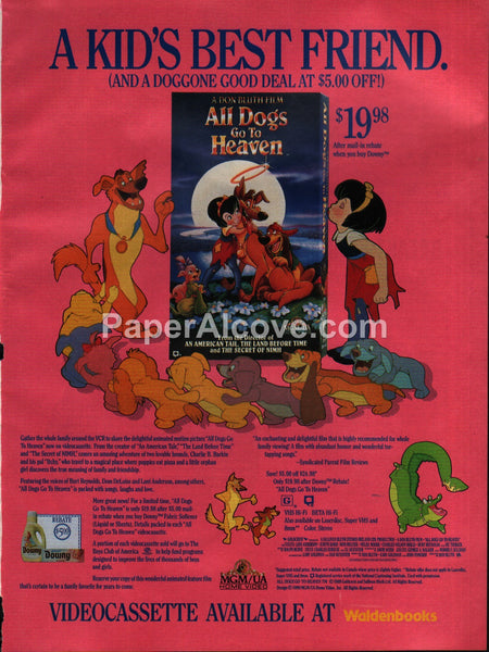 All Dogs Go To Heaven VHS Waldenbooks 1990 vintage print ad