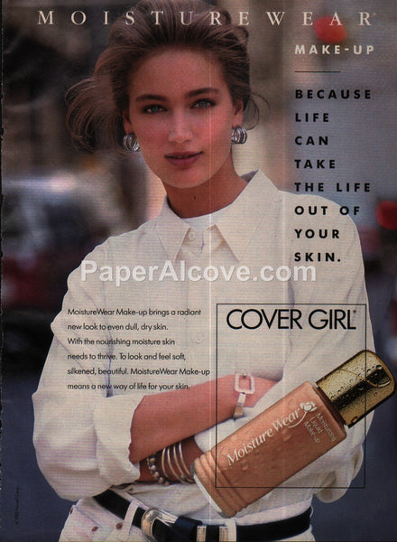 Covergirl Cover Girl Moisture Wear Make-Up 1990 vintage print ad