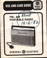 General Electric Model 7-2650 FM-AM Portable Radio 1980 manual