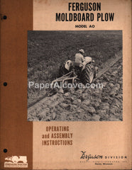 Ferguson Moldboard Plow Model AO 1955 Operating Assembly Instructions Manual