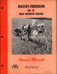 Massey-Ferguson No. 31 Rear Mounted Mower 1958 Owner's Manual