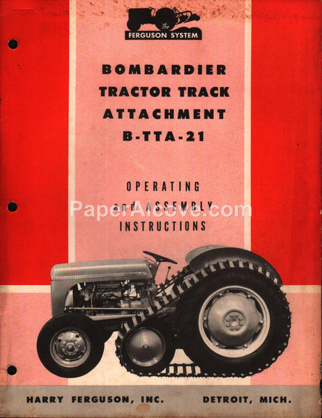 Ferguson Bombardier Tractor Track Attachment B-TTA-21 1953 Operating Assembly Instructions Manual