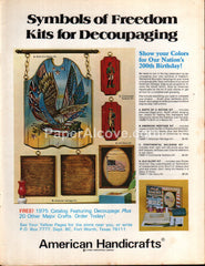 American Handicrafts Wood Wall Hanging Crafts 1975 vintage print ad