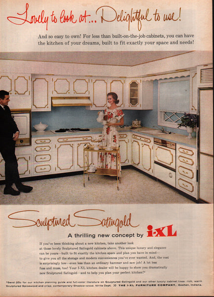 1963 I-XL Furniture Co Kitchen Cabinets Goshen IN vintage print ad