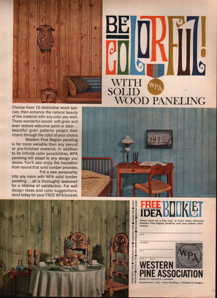 1963 Western Pine Association Wood Paneling Portland OR vintage print ad