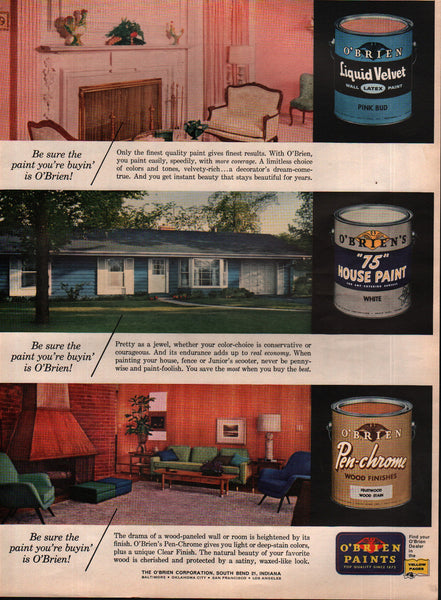 1963 O'Brien Corporation Paints vintage print ad