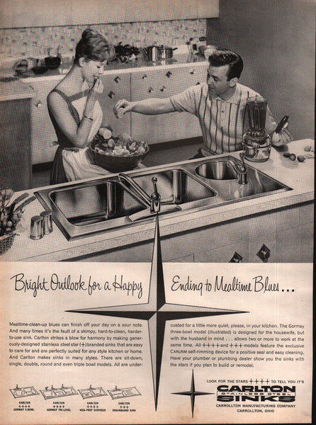 1963 Carrollton Manufacturing Co Carlton Stainless Steel Sinks OH vintage print ad