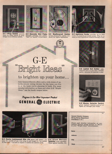 1963 General Electric CO Wiring Devices Providence RI vintage print ad