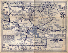 Texaco map Yellowstone National Park Waterton-Glacier Park