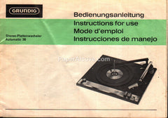 Grundig Stereo Automatic Turntable 36 Instructions original vintage