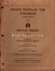 International Harvester Motor Trucks Service Propeller Tube Assemblies 1958 vintage parts list