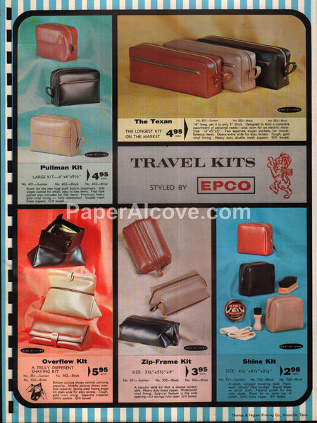 Epco Travel Kits 1963 original vintage catalog pages brochure ad