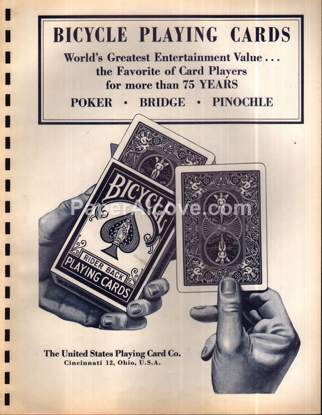 Bicycle Congress United States Playing Cards 1963 original vintage catalog pages brochure ad