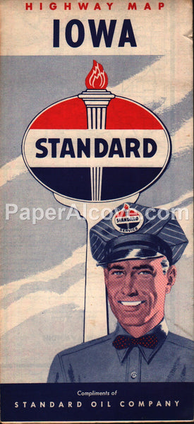 Standard Oil Iowa vintage old 1950s map gas oil service station