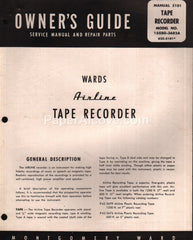 Wards Airline Tape Recorder with Radio Owner's Guide Service Manual 15GSG-3682A Montgomery Ward