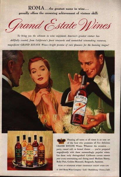 1947 Roma Wine Co Grand Estate Burgundy Sherry Port vintage print ad