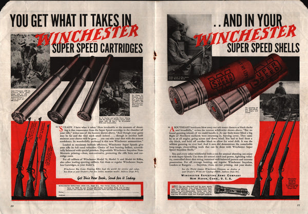 1938 Winchester Super Speed Shells Shotguns Model 12 vintage print ad