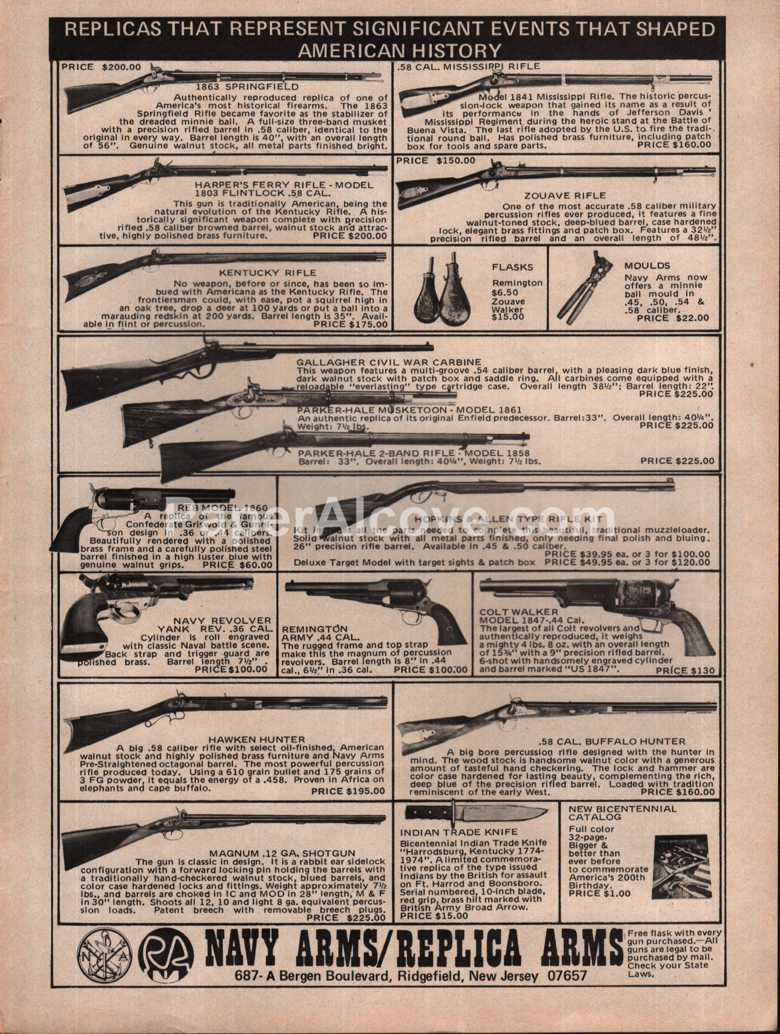 Navy Arms / Replica Arms rifles 1976 vintage original old magazine ad