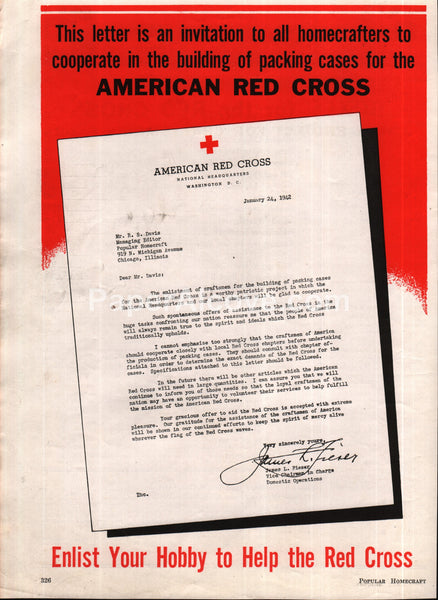 American Red Cross 1942 vintage original old magazine ad
