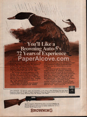 Browning Auto-5 shotgun 1975 vintage original old magazine ad duck hunting