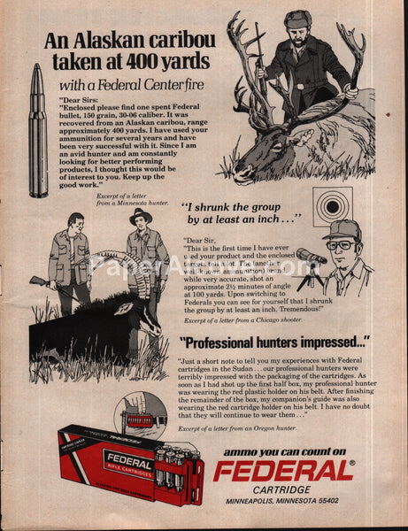 Federal Rifle Cartridges 1975 vintage original old magazine ad caribou hunting