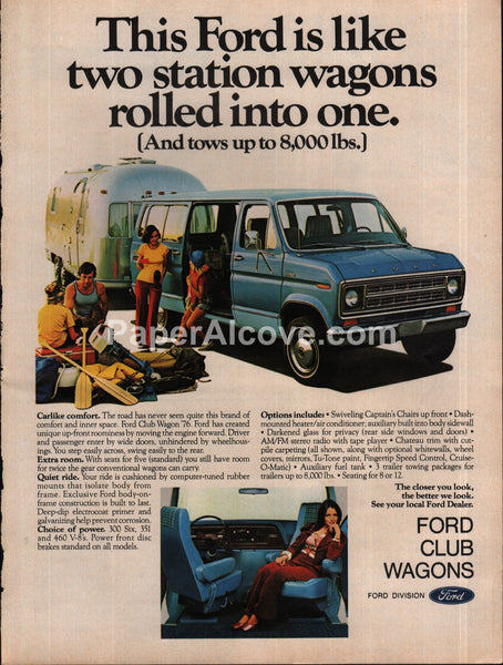 Ford Club Wagons vans 1976 models pulling airstream 1975 vintage original old magazine ad