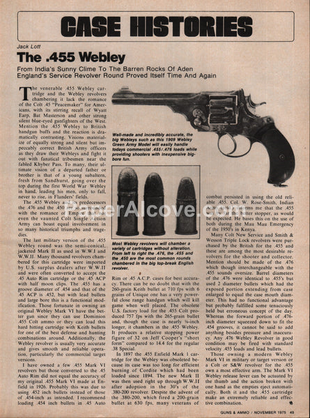 .455 Webley gun 1975 vintage original old article
