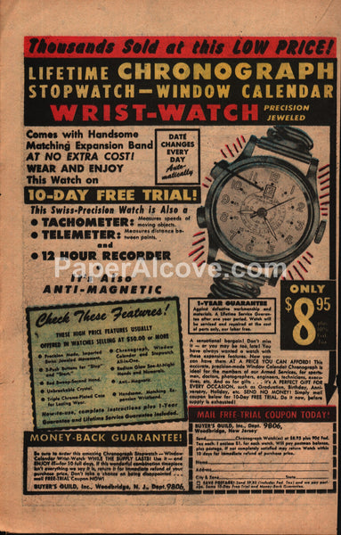 Buyer's Guild Chronograph Watch 1954 vintage print ad