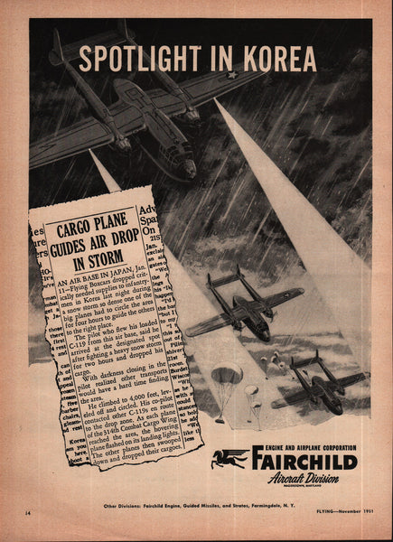 1951 Fairchild Aircraft Division Magerstown MD vintage print ad