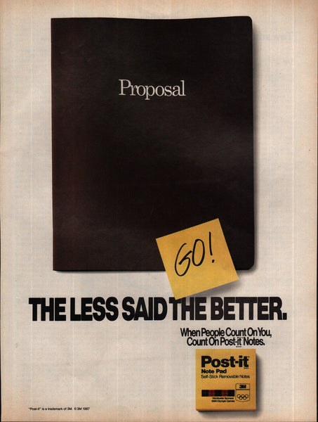 1988 3M Post-it Note Pad vintage print ad