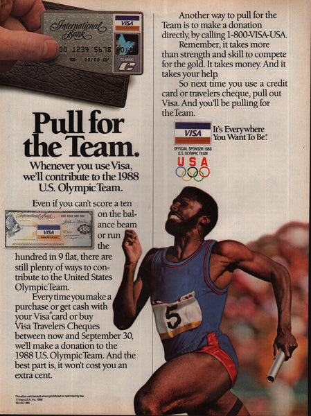 1988 Visa Credit Card U.S. Olympic Team vintage print ad