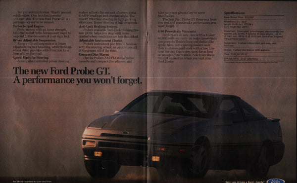 1988 Ford Motor Co. Probe GT vintage print ad