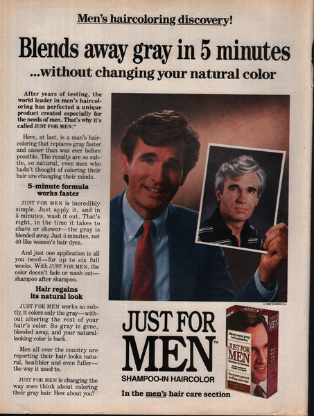 1988 Just For Men Shampoo-In Haircolor vintage print ad