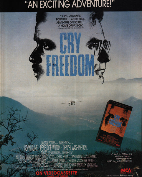 1988 MCA Home Video Cry Freedom vintage print ad