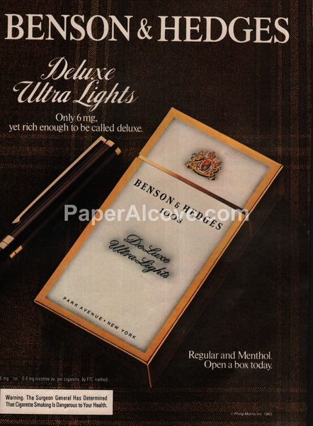 Benson & Hedges Deluxe Ultra Lights cigarettes 1983 vintage print ad