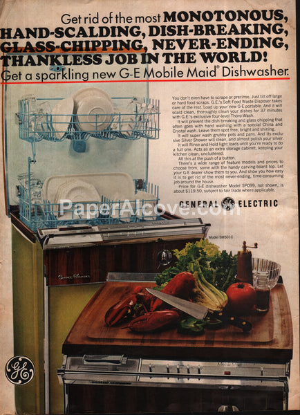 General Electric GE Movile Maid Dishwasher 1966 vintage print ad
