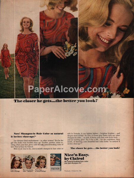 Clairol Nice'n Easy Shampoo-In Hair Color 1966 vintage print ad