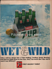 7-Up 7Up Wet & Wild soda pop 1966 vintage print ad