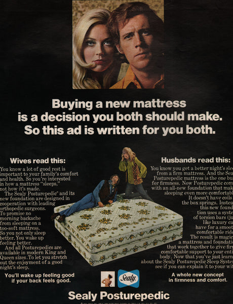 Sealy Posturepedic Mattress Husbands Wives Chicago IL 1970 vintage print ad