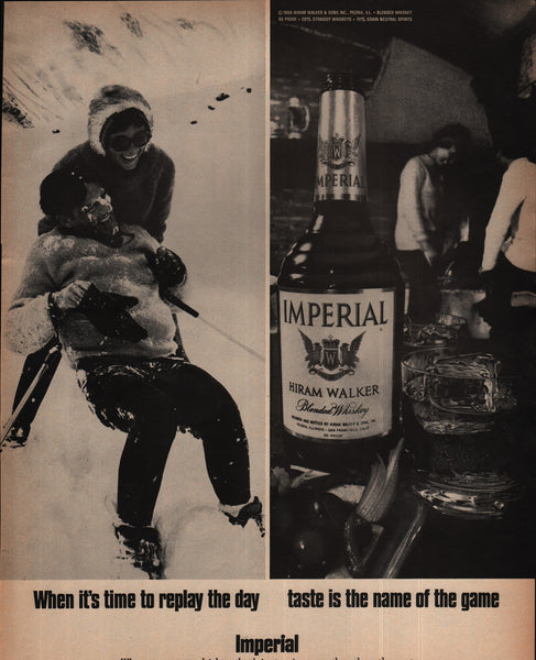 Imperial Blended Whiskey Hiram Walker Peoria IL Skiing 1970 vintage print ad