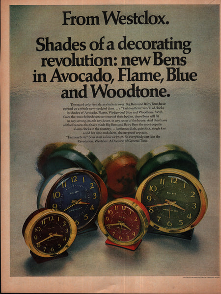 1970 Westclox General Time Alarm Clocks vintage print ad