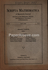 Scripta Mathematica Journal May 1934 Vol. II No. 3 and Supplements